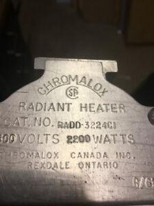 Radiant Heater Moele # RADD 322 4CI /600Vac / 2200WATTS
