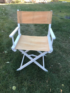 Old Wooden frame w/cloth seating Folding Director / Beach Chair
