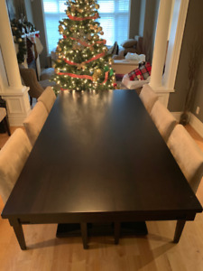 Custom Extendable Dining Room Table With 8 Chair Set