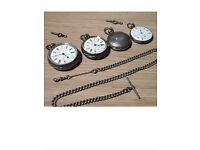 Collection of vintage pocket watches all silver with x2 keys and fob chain all in working order