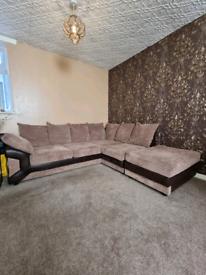 Dino Beige and Brown Right Corner Sofa