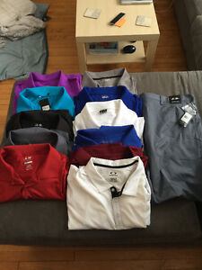Assorted Men's apparel and 1 pair of women's yoga pants