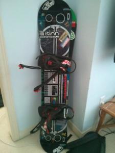 Snowboard with Union bindings