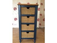 Solid Wood Tallboy with Rattan Baskets.