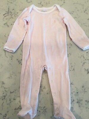 Ralph Lauren Baby 9 Month Pink And White Stripe Jumper Bodysuit