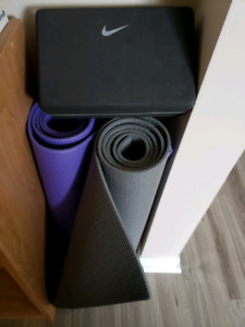 His and her yoga mat with cube