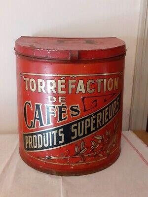 Ancienne grande boite à café torréfié rouge - Vintage large red Coffee container