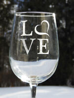 "Valentine's ""LOVE"" wine glasses"