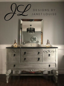 Gorgeous grey and black antique buffet