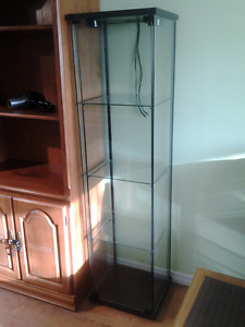 Tall glass display cabinet with 2 lights
