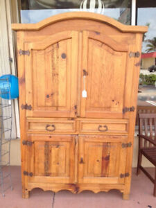 Rustic Mexican Pine Arched Top Armoire