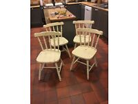4 vintage retro pine farmhouse french country chairs