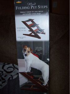Brand new in box folding wooden dog stairs