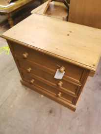 Pine small Bedside table chest of draw