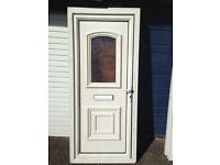 UPVC DOOR WITH PATTERNED GLASS