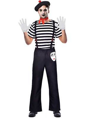 Adult Male Mr Mime Artist Costume Mens Fancy Dress French Circus Street - Circus Costume Male