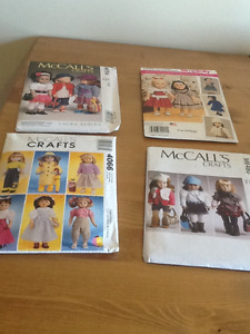 """Four American Girl 18"""" Quality  Doll Clothes Patterns Complete"""