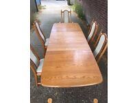 Ercol table and 6 chairs delivery poss