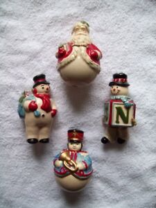 POTTERY CHRISTMAS TREE ORNAMENTS SET OF 4