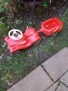Red walker truck and trailer for toddler