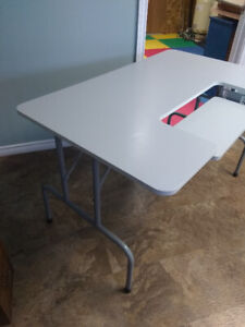 Folding table for sewing/typing