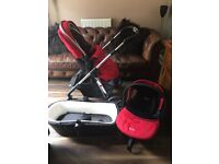 Silver Cross Pioneer travel system chilli red colour huge set