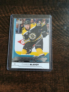 17/18 UD Young Guns Rookie Card of Charlie McAvoy.