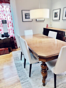 Vintage dining room table with chairs.