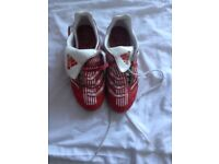 Boys red Adidas studded football boots size 4