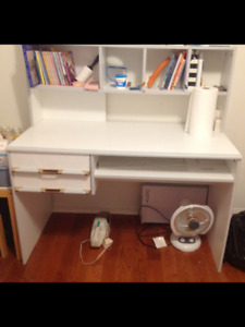 White desk with drawers and hutch/bookshelf (European made)