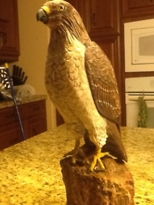 Wood hand carved Red tail Hawk