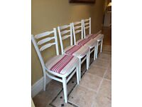 4 cream painted dining (kitchen) chairs