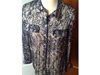 PLANET size 12 navy & cream chiffon shirt