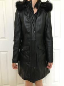 Black leather Danier jacket with fur hood