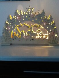 Two boxed led wooden decorations which lights up .