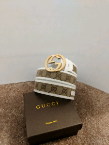 White/Brown Gucci Belt