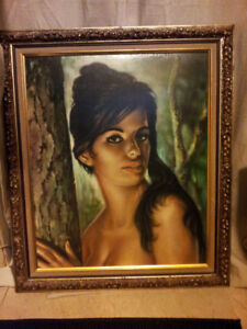 Vintage J.H Lynch lithograph wood Framed Tina