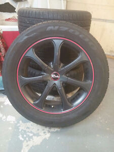 """17"""" rims and tires 245/50/17 NOT RACING RIMSlots of rubber left. Sarnia Sarnia Area image 3"""