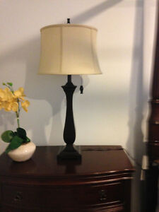 SET OF 2 TABLE LAMPS - ESPRESSO WITH TAUPE SHADES (LIKE NEW) London Ontario image 5