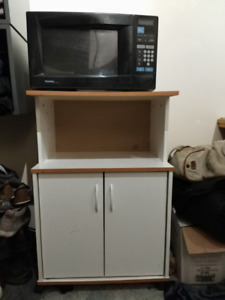 White Microwave cart/table/stand/cabinet and black Microwave