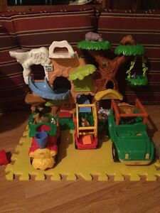 Fisher Price Jungle/Zoo with train and jeep
