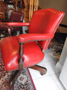 executive antique / vintage swivel office chair, new red leather