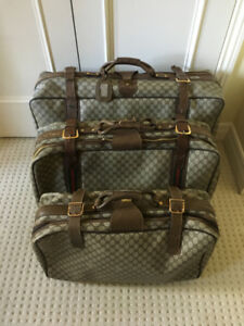 SET OF 3 VINTAGE (1980S) GUCCI SUITCASES FT. CLASSIC LOGO