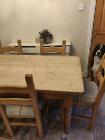 Farmhouse solid wood dining table and 6 chairs