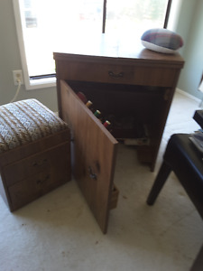 sewing machine table and stool.