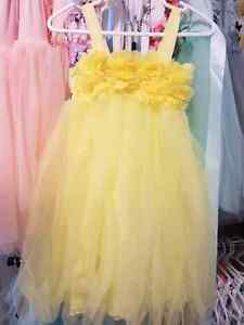 New canary yellow dress party tutu girls baby 2T