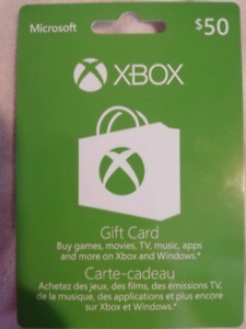 Xbox gift certificate available