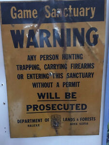 Vintage Original Game Sanctuary Hunting Tin Sign - Halifax, NS