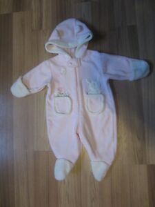 "PINK ""BABY BELL"" BUNNY FLEECE SUIT - SIZE 0  to 3 MONTHS"