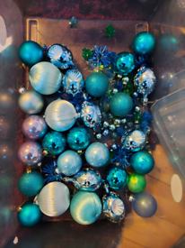 Assortment of blue christmas baubles